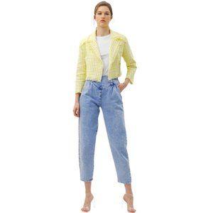 NEW Bershka Yellow Houndstooth Crop Jacket-  M-L